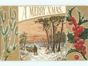 Divided-Back CHRISTMAS SCENE Great Postcard W8997
