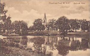 Massachusetts Amhurst Chapel And pond M.A.C. Albertype