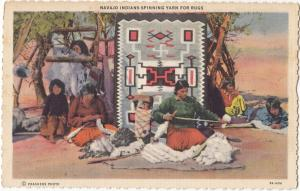 Navajo Indians spinning Yarn for Rugs, linen Postcard