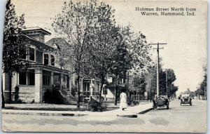 Hammond, Indiana Postcard HOHMAN STREET Residential Scene w/ Cars 1912 Cancel