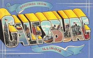 Galesburg Illinois Greetings From large letter linen antique pc Z49803