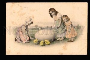 048915 EASTER Girls w/ Huge Egg vintage M.M.VIENNE