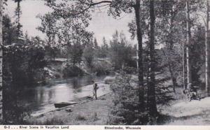 Wisconsin Rhinelander River Scene In Vactionland 1947 Real Photo