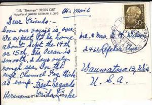 Germany - T. S. Bremen 1961 - Ship's Cancel