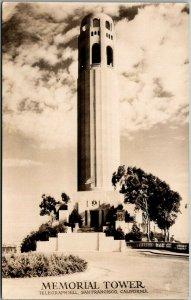 San Francisco, CA RPPC Photo Postcard MEMORIAL (Coit) TOWER Telegraph Hill
