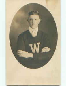 Pre1930 rppc MAN IN UNIVERSITY OF WASHINGTON SWEATER Seattle Washington WA o1456