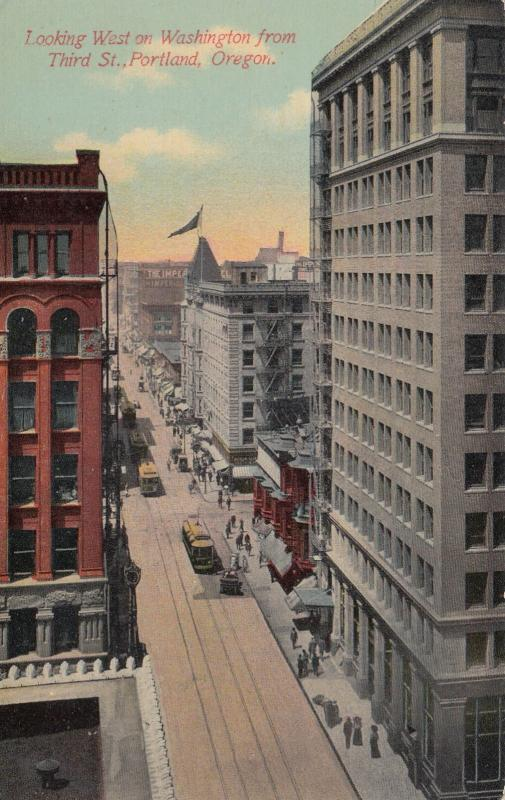 PORTLAND, Oregon, 1900-1910's; Looking West on Washington from Third St.