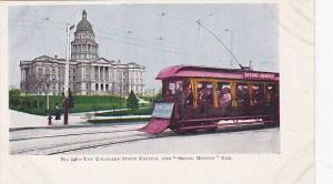 Seeing DEnver Trolly car. State Capitol, Colorado, Pre-1907