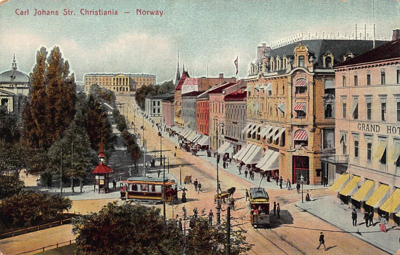 Carl Johans Street, Christiana, Norway,  Early Postcard, Unused