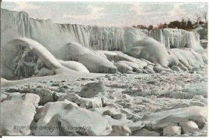 110 Year Old Postcard, A Frozen Niagara Falls in a Winter Scene, Cascading Ice