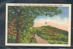 Virginia postcard Reddish Knob Lookout TWR Washington Forest