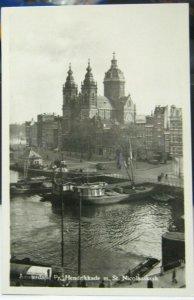 Netherlands Amsterdam Pr. Hendrikkade m. st. Nicolaaskerk RPPC - unposted