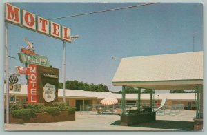 Pauls Valley Oklahoma~Valley Motel~Hwy 77~Neon Sign~Pool With Slide~1960s