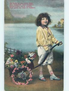 Pre-Linen foreign FRENCH GIRL PULLS CART DECORATED WITH FLOWERS HL7736