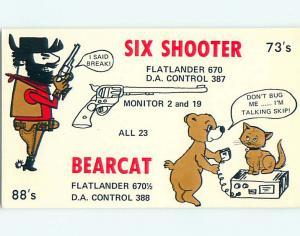 bear & CAT - QSL CB HAM RADIO CARD Midland Texas TX t8685