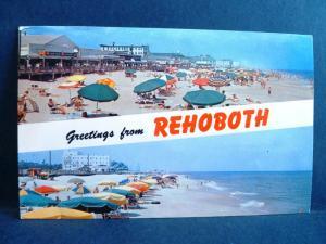 Postcard DE Rehoboth Beach Dual View Beach & Boardwalk View Greetings