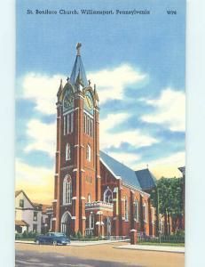 Linen CHURCH SCENE Williamsport Pennsylvania PA AD0943