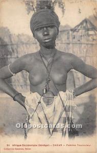 Dakar Femme Toucouleur African Nude Postcard Afrique Occidentale Senegal Writ...