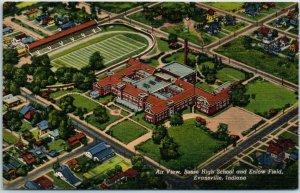 Evansville, Indiana Postcard Air View, Bosse High School & Enlow Field Linen