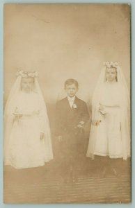 RPPC Brother Between Sisters~First Communion~Veils, Rosary, Book c1910 Postcard