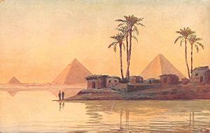 Egypt, Egypte, Africa Pyramids and Village during Nile Flood  Pyramids and Vi...