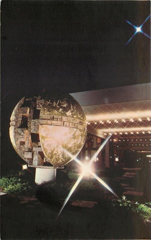 Troy Michigan Northfield Hilton Night Lights Earth Maze Bronze Sculpture 1970s