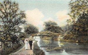 F53/ Barberton Ohio Postcard c1910 Canal View People Bridge