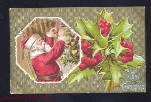 MERRY CHRISTMAS SANTA CLAUS RED ROBE HOLLY ANTIQUE VINTAGE POSTCARD GOLD