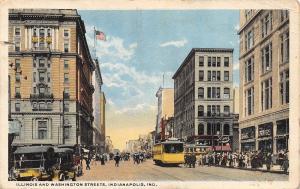 Indianapolis~Illinois and Washington Streets~Payne's~Trolleys 1920s Postcard