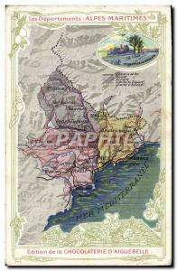 Old Postcard geographical maps of Chocolaterie & # 39Aiguebelle Alpes Maritim...