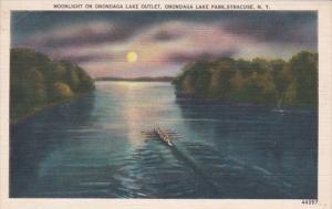 New York Syracuse Moonlight On Onondaga Lake Outlet 1955