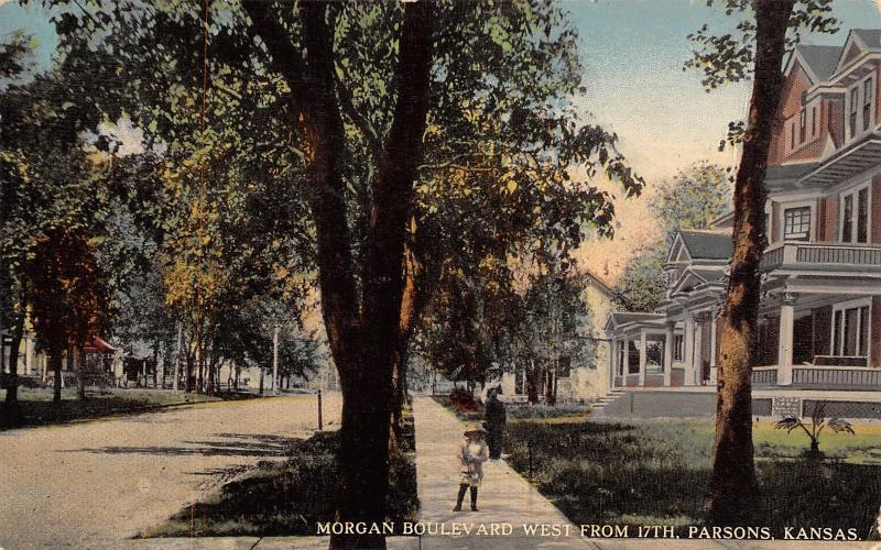 Parsons KS Little Girl on Sidewalk by Big Shade Tree & Three
