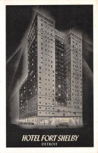Detroit Michigan~Hotel Fort Shelby in the Spotlight~Lumitone Postcard 1930s