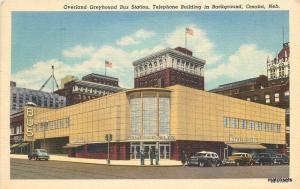 1950 Omaha Nebraska Overland Greyhound Bus Station autos Teich linen 4269