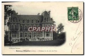 Old Postcard Rosnay l & # 39Hopital Chateau seen from Riviera Park