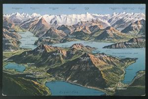 Switzerland Mount Rigi Relief Map surrounding mountains Alps E. Goetz Postcard