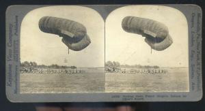 REAL PHOTO WWI FRENCH DIRIGIBLE BLIMP AVIATION BALOON STEREOVIEW CARD WW1
