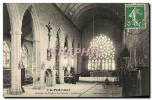 Old Postcard Pont l'Abbe Interior of The Carmelite church Rosacea
