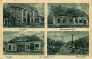 Hungary Nyergesújfalu Községháza; Hangya vendéglo; Hangya; Utcarészlet Postcard