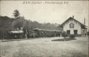 Peterborough Peterboro NH B&M RR Train Station Depot c1910 Postcard
