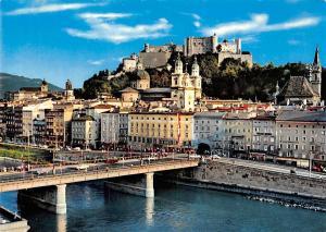 Salzburg Staatsbruecke mit Festung und Salzach, The Main Bridge Fortress