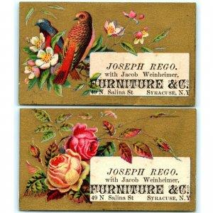 c1880s x2 Syracuse Salina New York Furniture Jacob Weinheimer Trade Card LOT C16