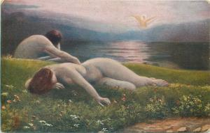 Early art postcard nude in paintings : Kasparides - Lost Paradise