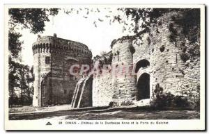 Old Postcard Dinan Chateau de la Duchesse Anne and the Gate of Gulchet