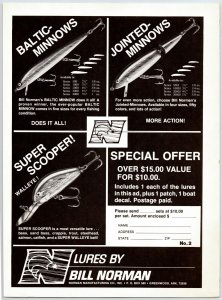 1981 Bill Norman Fishing Lures Vintage Print Ad Man Cave F1