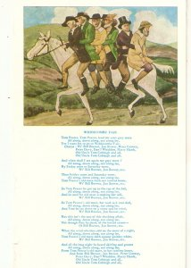 People on horse to Widecombe Fair. Poem Vintage english postcard