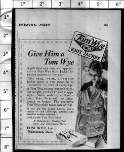 1924 Tom Wye Knit Jacket Fashion Vintage Print Ad 4006