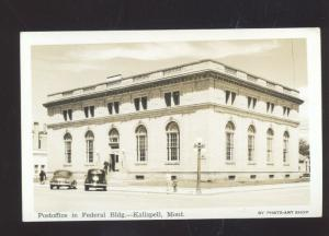 KALISPELL MONTANA UNITED STATES POST OFFICE VINTAGE POSTCARD REAL PHOTO CARS