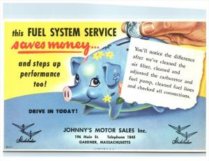 21228 Mass. Gardner,  Johnny's Motor Sales, Studebaker, Piggy Bank, Fuel Sy...