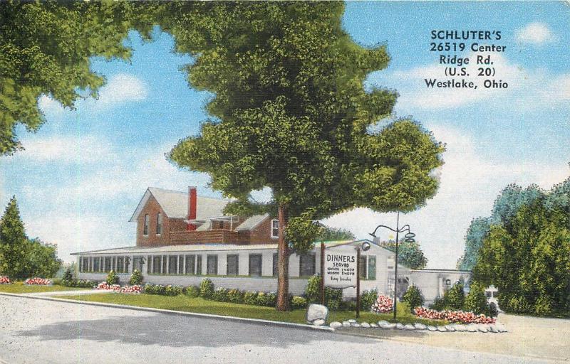 Westlake Ohio Oh Schluter S Restaurant Ca 1940s Linen